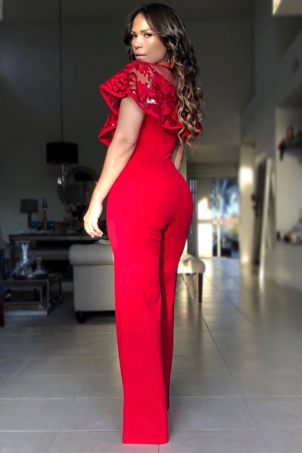 Emma Red Mesh Sequin Top Jumpsuit