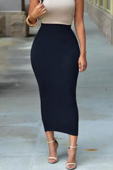Emmie Essential Bodycon Black Midi Skirt
