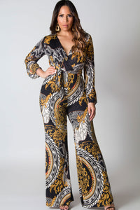 Erin Long Sleeves Wrap Multi Printed Jumpsuit