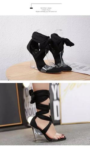 Olivia Peep Toe Lace-Up Wedges