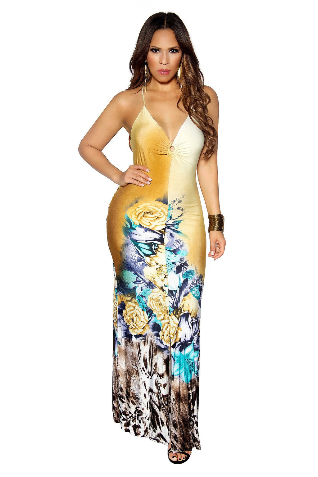 FLORAL PRINT MERMAID MAXI DRESS - MY SEXY STYLES