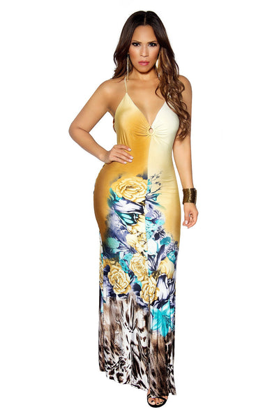 FLORAL PRINT MERMAID MAXI DRESS