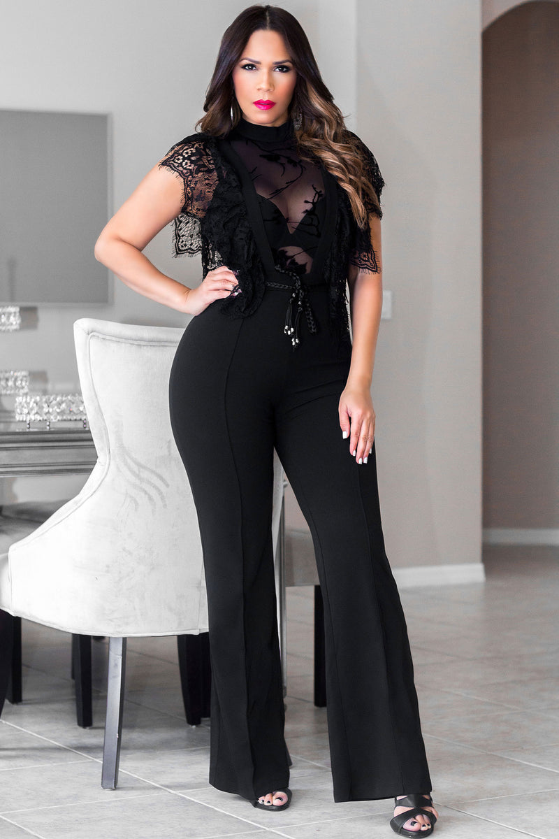 Fabiana Black Mesh Sleeveles Party Jumpsuit