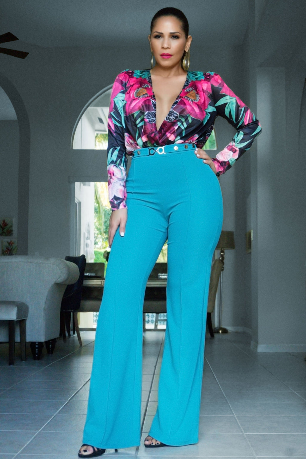Fabianna Teal Fuchsia Floral Print Long Sleeved Bodysuit