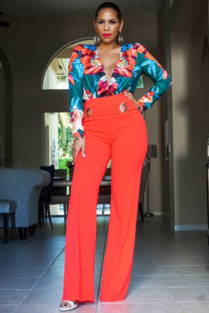 Fabianna Orange Green Print Long Sleeved Bodysuit