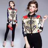 Fabrizzio Sophisticated Multicolor Print Long Sleeves Shirt