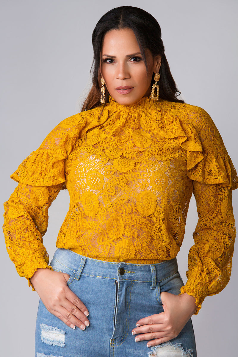 Copy of Fiona Mustard Crochet Lace Ruffled Long Sleeves Blouse