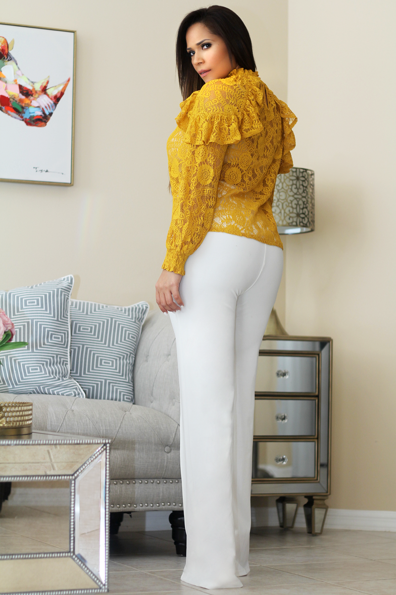 Fiona Mustard Crochet Lace Ruffled Long Sleeves Blouse