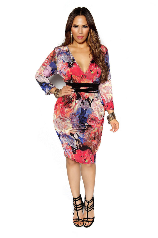 FLORAL PRINT LONG SLEEVE PLUNGING MIDI BODYCON CORAL PLUS SIZE DRESS