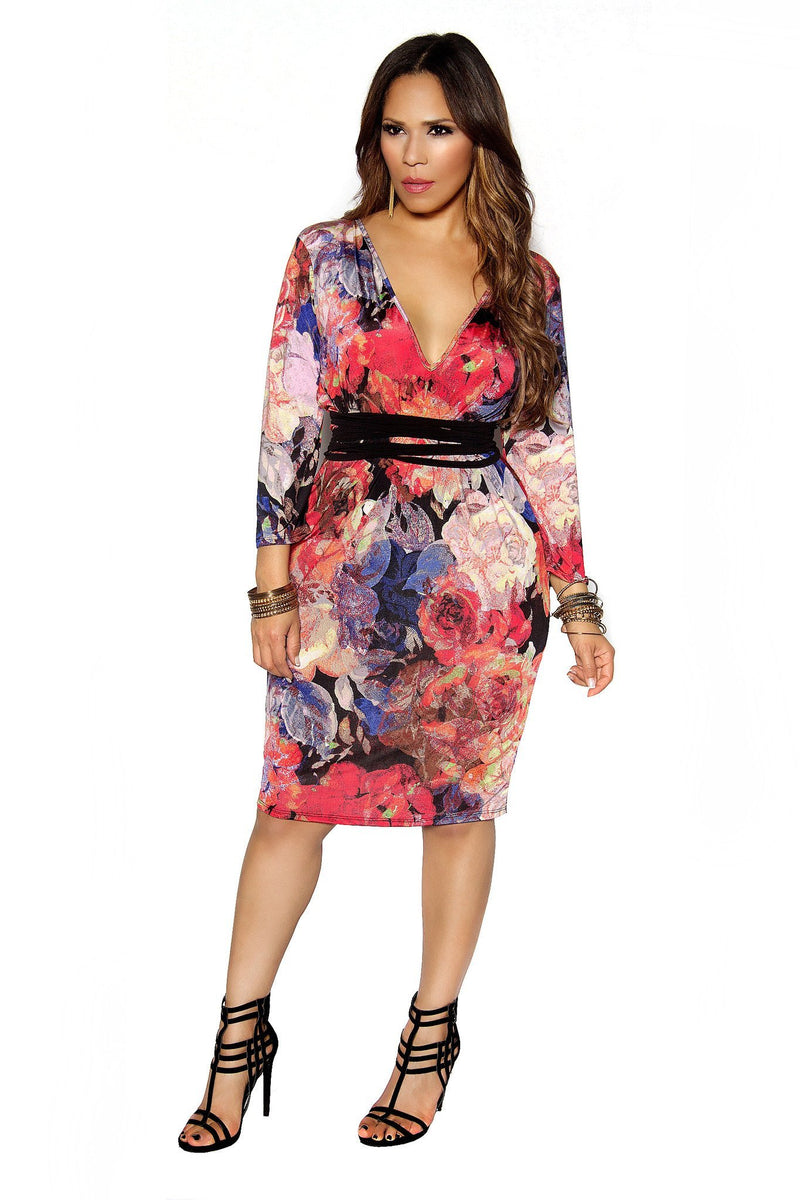 Plus Size Coral Floral Print Long Sleeve Plunging Midi Bodycon Dress