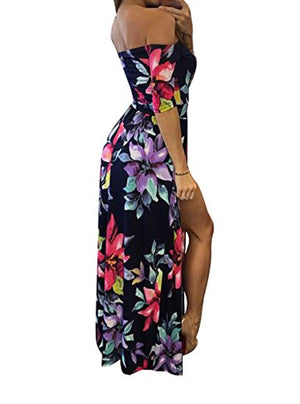 Monserrat Floral Off Shoulder Beach High Low Slit Romper in Night Blue