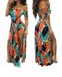 Floral Off Shoulder Beach High Low Split Maxi Romper in Orange - MY SEXY STYLES