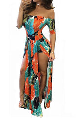 Floral Off Shoulder Beach High Low Split Maxi Romper in Orange