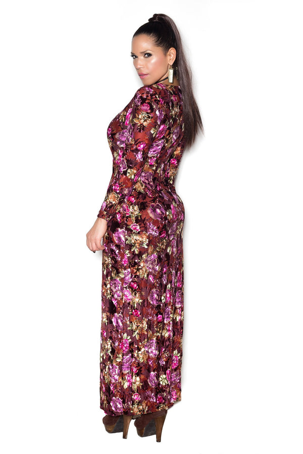 Floral Print Long Sleeve V Neck Maxi Bodycon Romper - MY SEXY STYLES  - 3