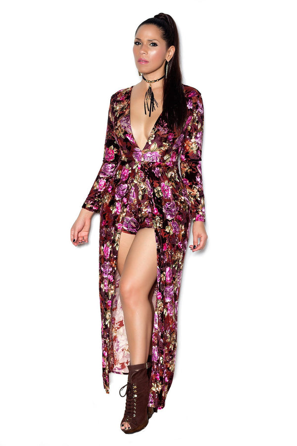 Floral Print Long Sleeve V Neck Maxi Bodycon Romper - MY SEXY STYLES  - 1