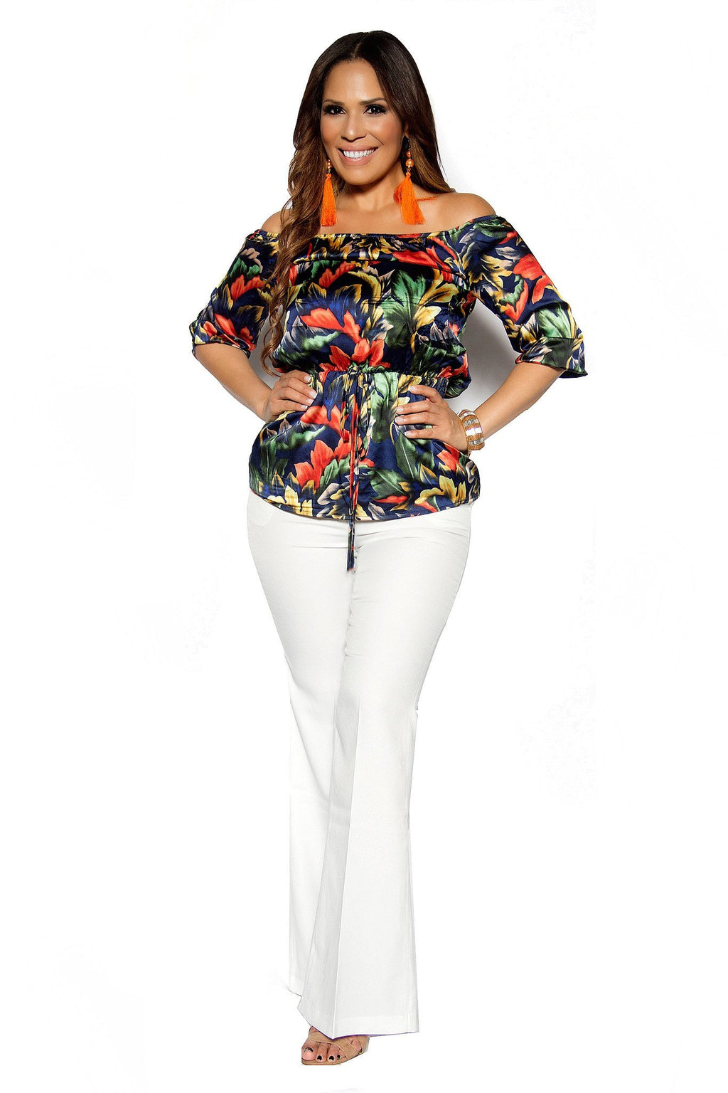 Orange Navy Floral Print Quarter Sleeve Off Shoulder Crop Top - MY SEXY STYLES