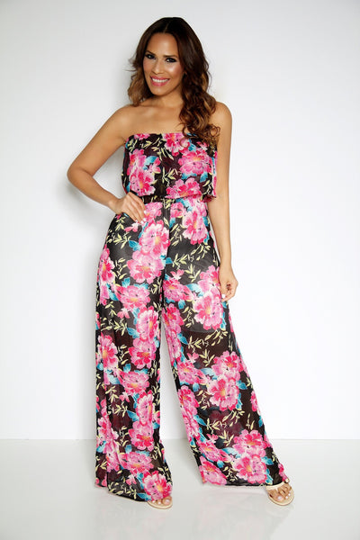 Floral Print Strapless Ruffled Top Jumpsuit - MY SEXY STYLES  - 3