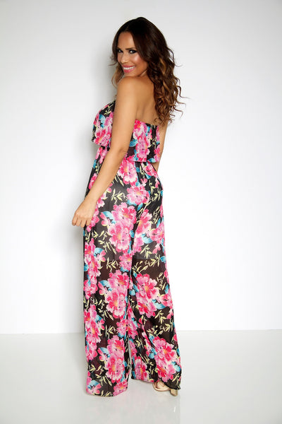 Floral Print Strapless Ruffled Top Jumpsuit - MY SEXY STYLES  - 4