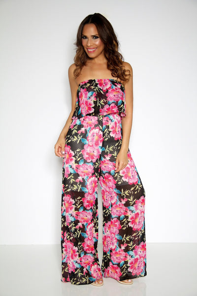 Floral Print Strapless Ruffled Top Jumpsuit - MY SEXY STYLES