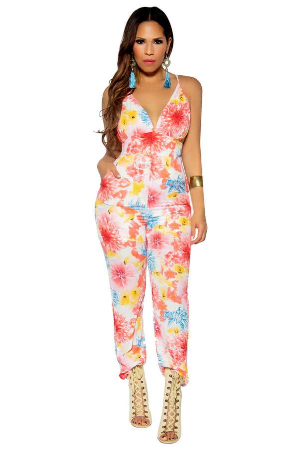 Ivory Coral Flower Print V-Neck Jumpsuit - MY SEXY STYLES