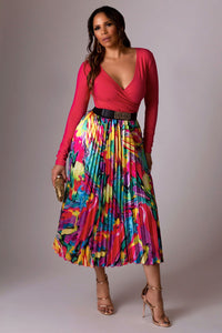 Lana Multi-Color Print Pleated Midi Skirt