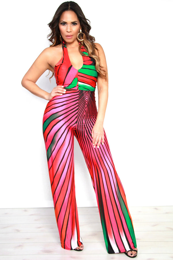 Fuchsia Multicolor Stripe Print Halter Top Jumpsuit