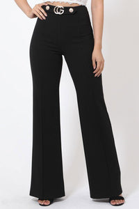 Gael Interlocked G Buckle w/ Rhinestones and Button Detail High Waist Pants in Black