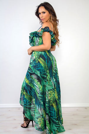 Stella Green Floral Print Plunging Off Shoulder High Low Maxi Dress