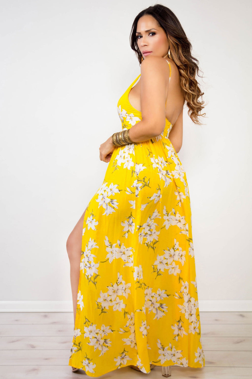 Gabriella Yellow Floral V-Neck Maxi Dress W/ Side Slits