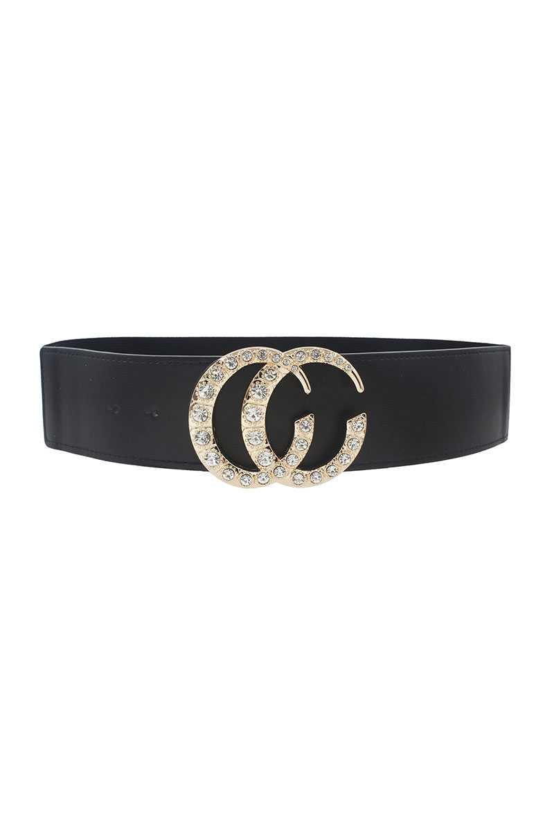 Gabrielle Interlocking CC Elastic Rhinestone Fashion Belt