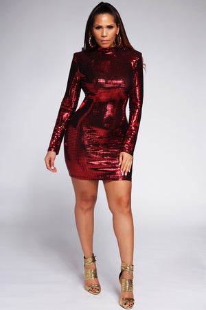 Gafna Long Sleeves Red Sequin Party Mini Dress