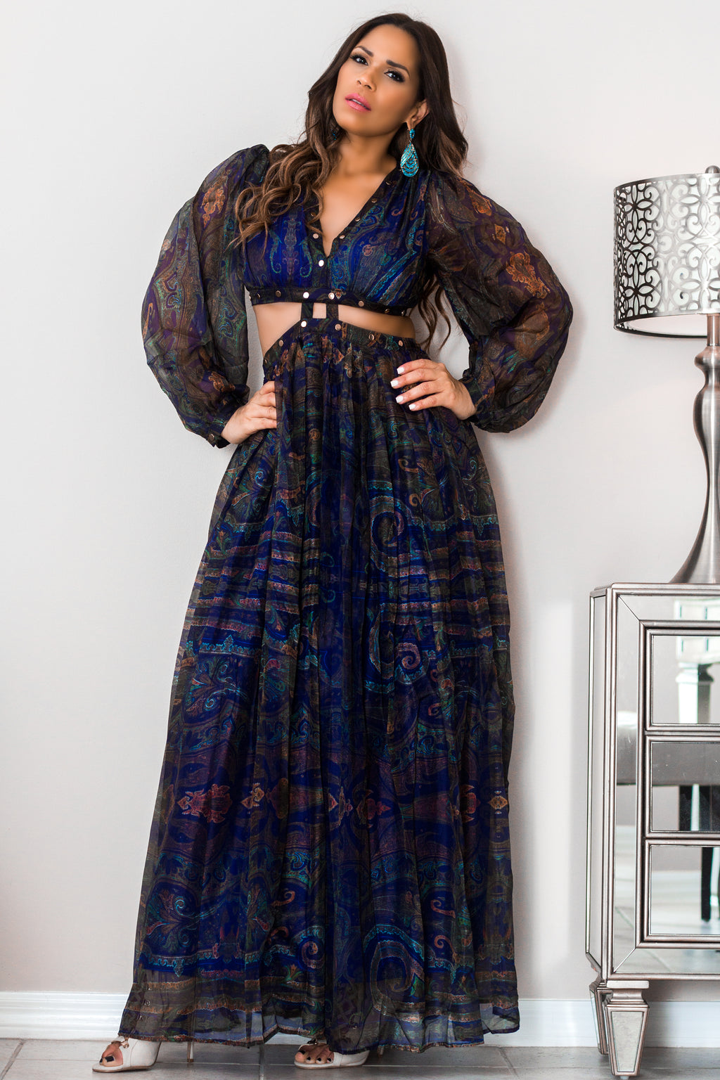 Genesis Navy Blue Print W/ Cutouts Cocktail Maxi Dress
