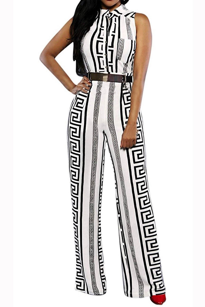 Classy Geometric Print Black and White Belted Cocktail Jumpsuit- Black