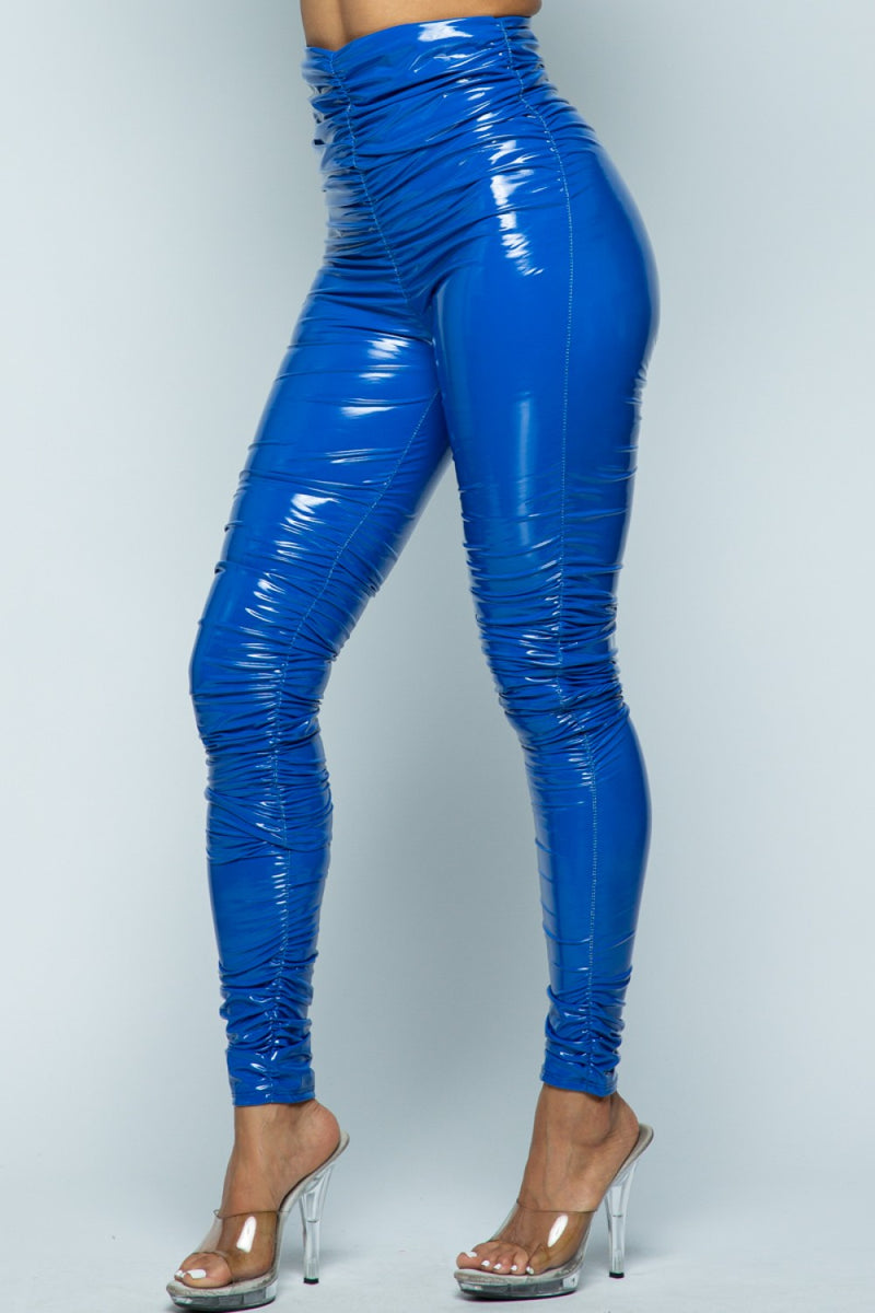 Giada Wet Look Ruched Latex High Waist Leggings in Royal Blue