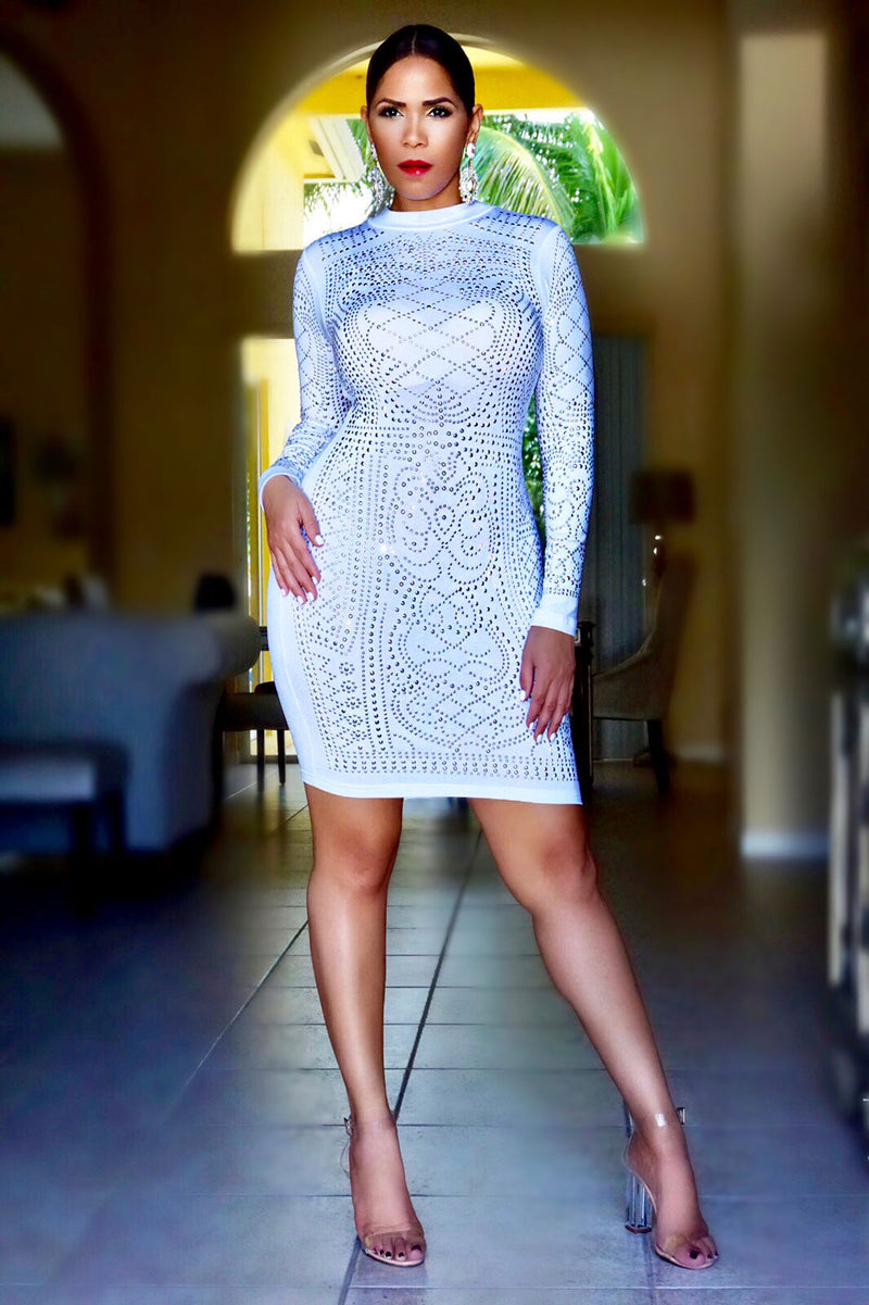 Giana White Iridescent Luxe Pattern Long Sleeve Bodycon Dress