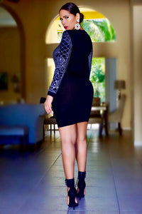 Giana Black Iridescent Luxe Pattern Long Sleeve Bodycon Dress