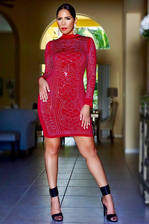 Giana Burgundy Iridescent Luxe Pattern Long Sleeve Bodycon Dress