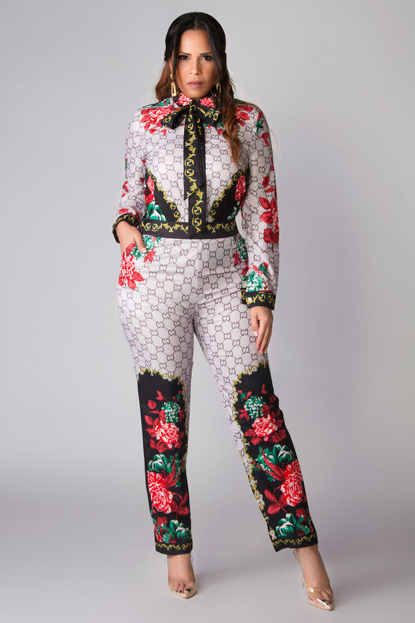 Ginger Baroque Print Button Down Shirt and Pants Set