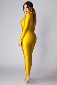 Ginny Zip Up Mock Neck Long Sleeve Catsuit in Mustard