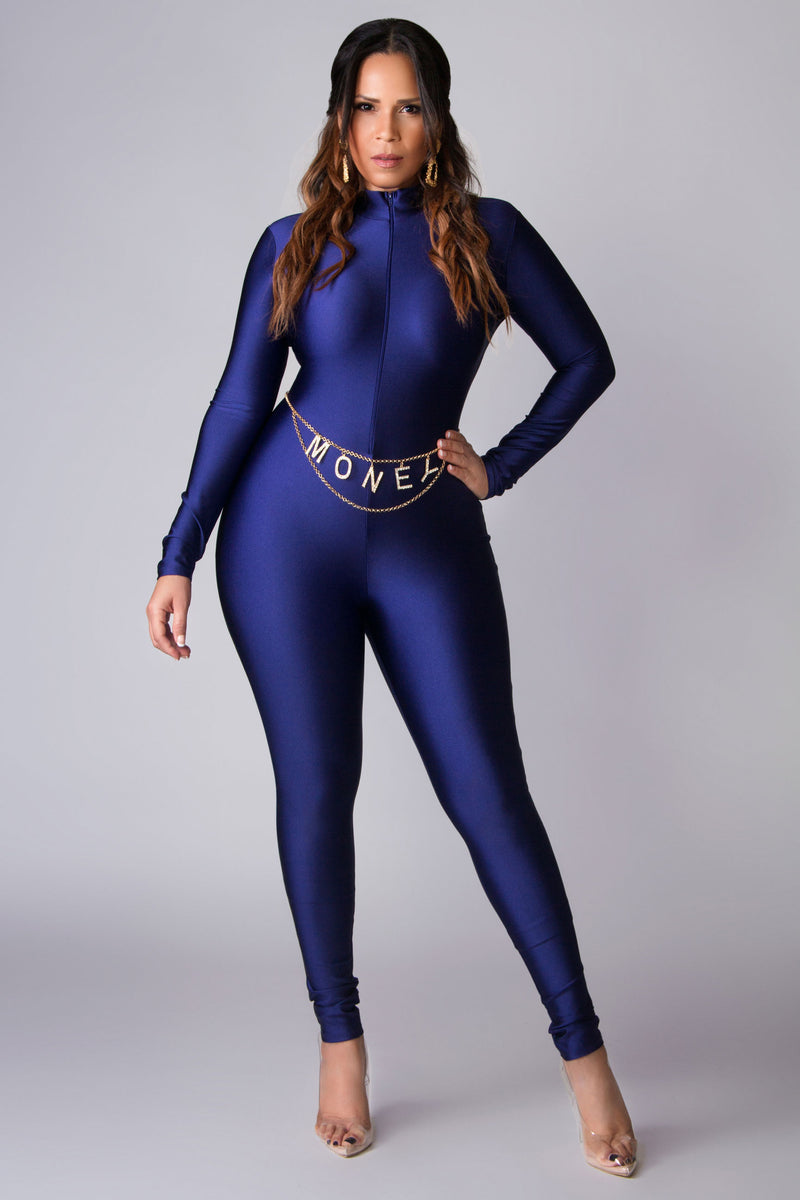 Ginny Zip Up Mock Neck Long Sleeve Catsuit in Navy