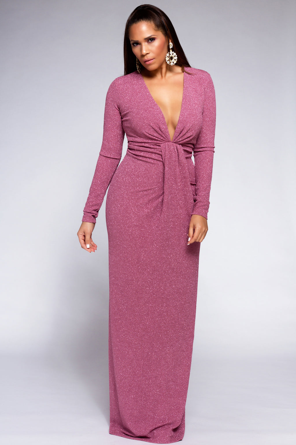 Giovanna Mauve V Neck Knotted Sparkle Maxi Dress