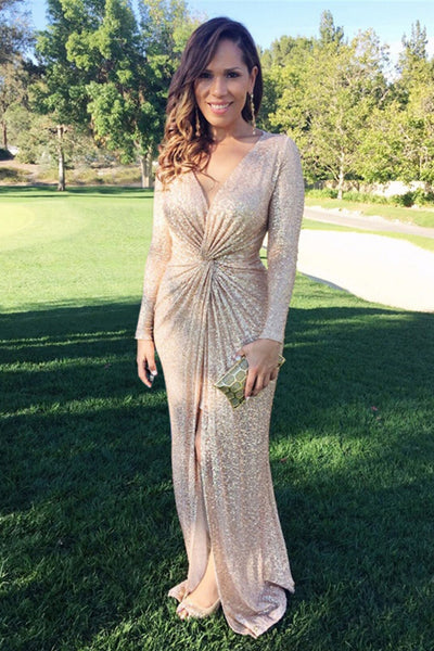 Goddess Golden Sequins Long Sleeved Maxi Gala Dress - MY SEXY STYLES