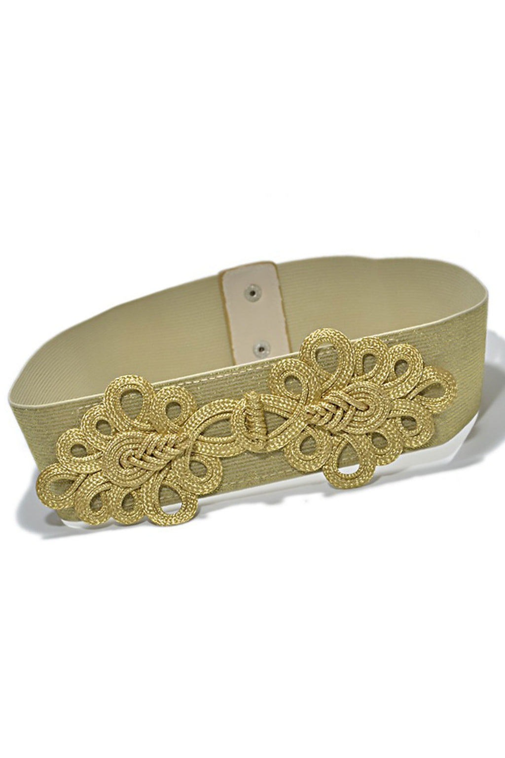 Gold Silver Stretch Floral Belt