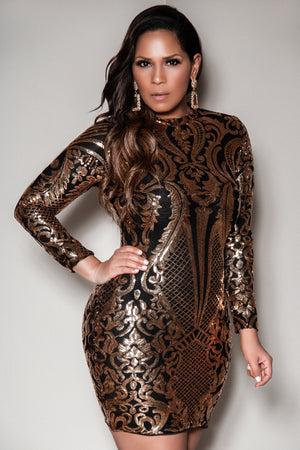 Golden Hour Sexy Sequin Long Sleeves Clubbing Mini Dress