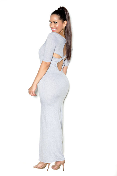 Gray Maxi Dress W/ Cap Sleeves and Cutout Back - MY SEXY STYLES  - 1