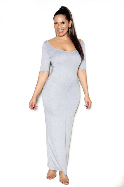 Gray Maxi Dress W/ Cap Sleeves and Cutout Back - MY SEXY STYLES  - 2
