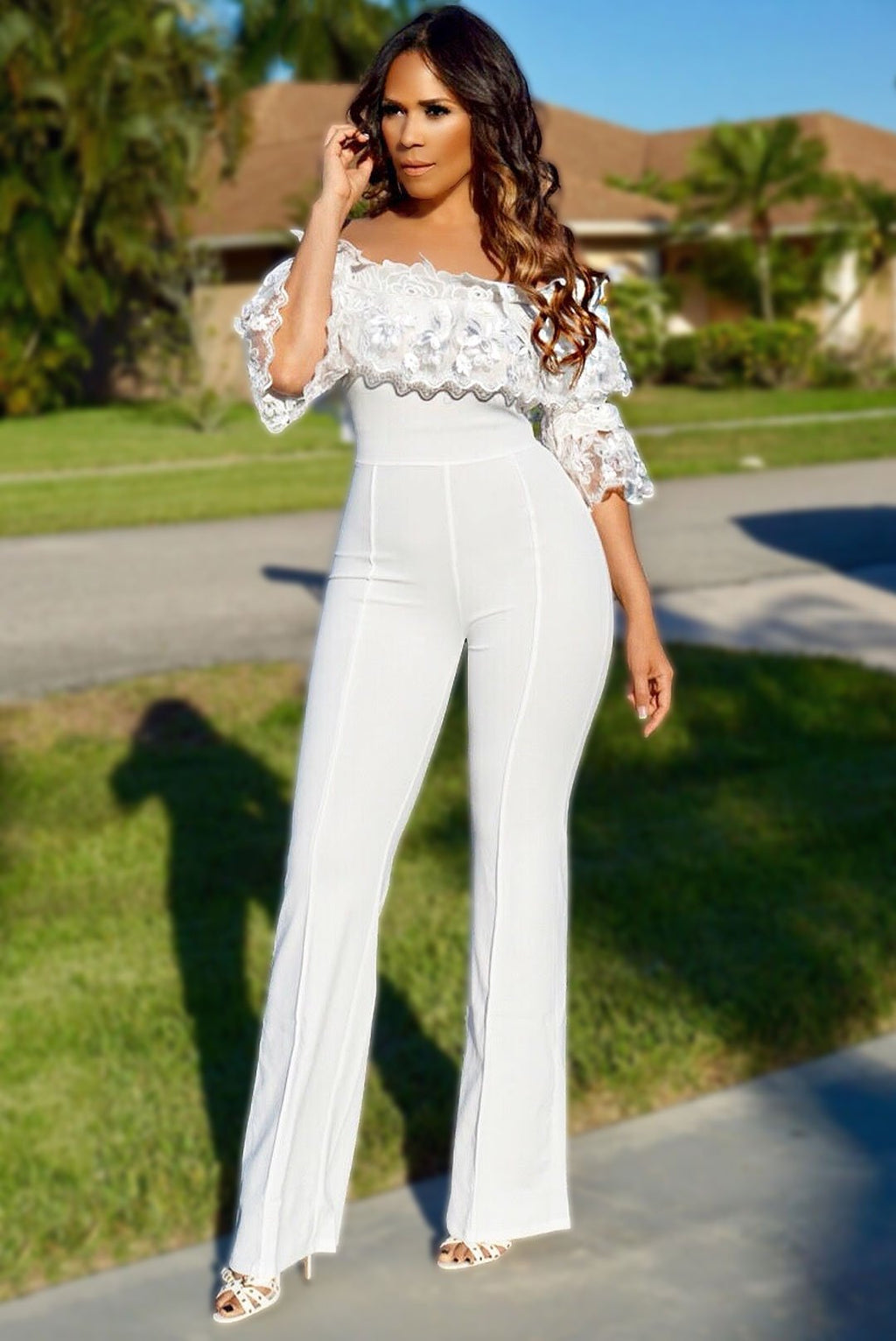 c718494e4f6 Hailey White Off Shoulder Flower Ruffled Sleeve Palazzo Jumpsuit