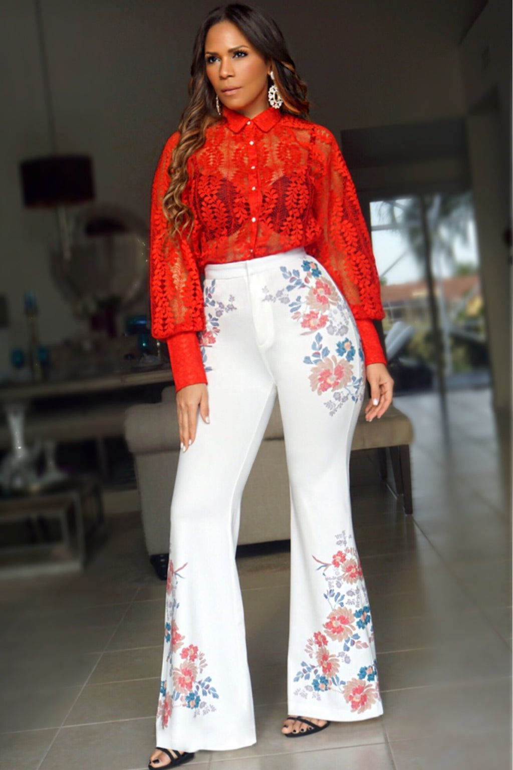 Harper Flower Print High Waist White Bell Bottom Pants