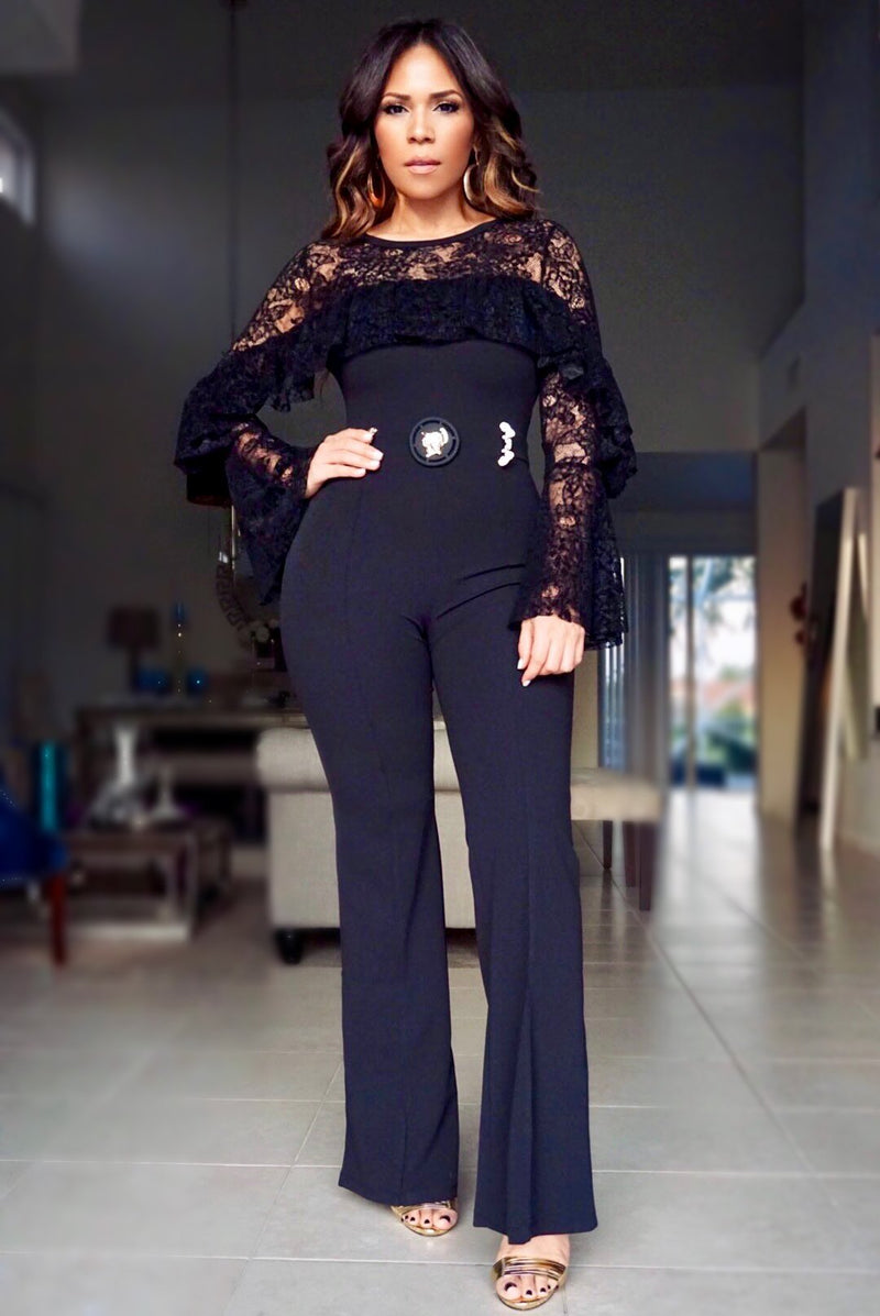 Hazel Long Sleeves Flower Detailed Mesh Jumpsuit in Black