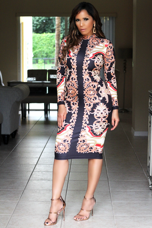 Heaven Baroque Print Quarter Sleeves Bodycon Dress